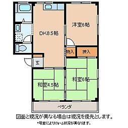 長野県岡谷市中央町3丁目の賃貸マンションの間取り