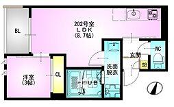 JR総武本線 東千葉駅 徒歩14分の賃貸アパート 1階1LDKの間取り