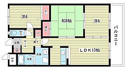 大阪府豊中市本町9丁目の賃貸マンションの間取り