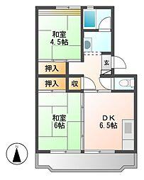 中駒九番団地5号棟[8階]の間取り