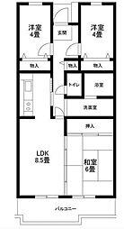 サンソレイユ松戸[6階]の間取り