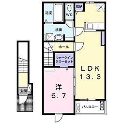 カーサ・クオーレ 2階1LDKの間取り