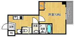 京都市営烏丸線 北大路駅 徒歩20分の賃貸マンション 2階1Kの間取り