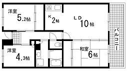 兵庫県神戸市北区南五葉5丁目の賃貸マンションの間取り