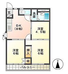 ハイツ太子堂[2階]の間取り