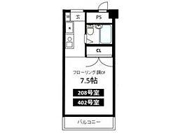 国立矢川マンション[4階]の間取り