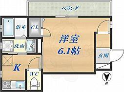 メゾンソレイユ長栄寺 1階1Kの間取り