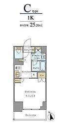 つくばエクスプレス 新御徒町駅 徒歩3分の賃貸マンション 5階1Kの間取り