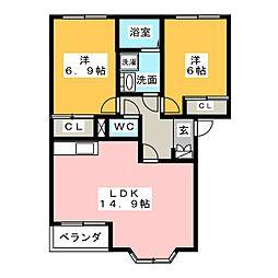 カクタス春日井[1階]の間取り
