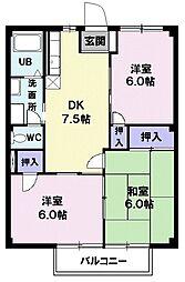 東京都八王子市平町の賃貸マンションの間取り