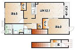 グランディールII番館[2階]の間取り