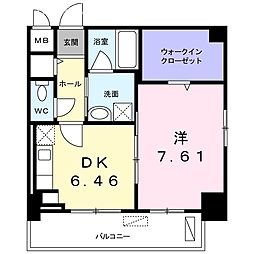 クラール上福岡 1階1DKの間取り
