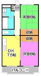 埼玉県志木市中宗岡2丁目の賃貸マンションの間取り