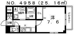 レジュールアッシュ天王寺II[5階]の間取り