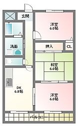 大阪府寝屋川市新家2丁目の賃貸マンションの間取り