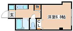 山陽電鉄本線 西新町駅 徒歩3分の賃貸マンション 1階ワンルームの間取り