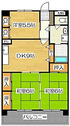 新栄二日市ハイツ[4階]の間取り