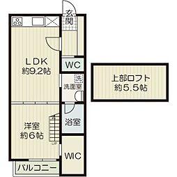 福岡県福岡市博多区諸岡1丁目の賃貸アパートの間取り