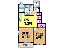 愛媛県伊予市八倉の賃貸アパートの間取り