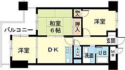 ロイヤルコーポ姫路[402号室]の間取り