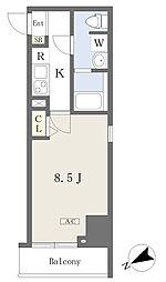 都営新宿線 本八幡駅 徒歩1分の賃貸マンション 9階1Kの間取り