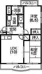 静岡県浜松市浜北区中条の賃貸マンションの間取り