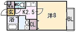 メゾンドゥ長瀬[2階]の間取り
