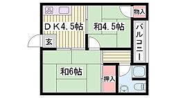 JR東海道・山陽本線 明石駅 徒歩35分の賃貸アパート 2階2DKの間取り