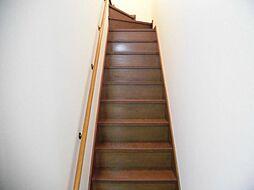 リフォーム済み。階段です。天井、壁のクロスを張り替え、ノンスリップを交換しました。手すりがあるのでお子様やご年配の方の登り降りも安心です。