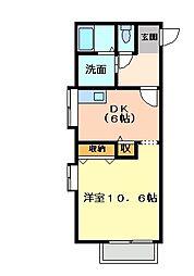 フォブール矢三[2階]の間取り