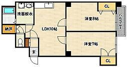 兵庫県神戸市兵庫区水木通8丁目の賃貸マンションの間取り