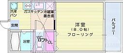 JR仙山線 北山駅 徒歩32分の賃貸アパート 2階1DKの間取り