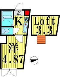 東京都足立区西新井本町2の賃貸アパートの間取り