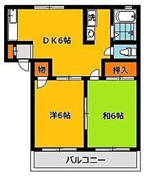 栃木県宇都宮市川田町の賃貸アパートの間取り