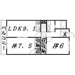 静岡県浜松市東区天王町の賃貸マンションの間取り