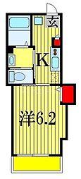 プレシャス本中山 3階1Kの間取り