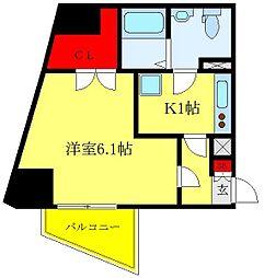 都営三田線 西巣鴨駅 徒歩10分の賃貸マンション 2階1Kの間取り
