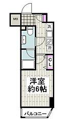 京急本線 日ノ出町駅 徒歩2分の賃貸マンション 4階1Kの間取り