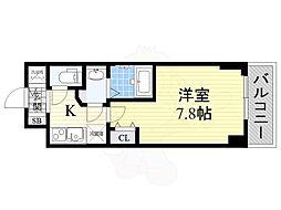 BPRレジデンス江坂(旧レジディア江坂2) 7階1Kの間取り