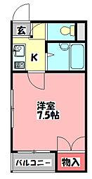 アークハウスII 3階1Kの間取り