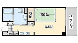 サンライフ尾崎 5階1Kの間取り