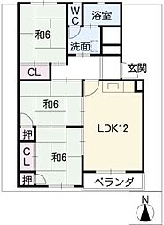 三日月住宅4号棟301号室[2階]の間取り