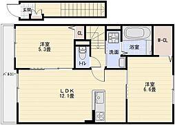 ヴラン・デュオ B棟[2階]の間取り