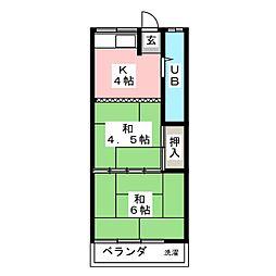 コーポ萩[2階]の間取り