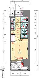 Osaka Metro千日前線 阿波座駅 徒歩5分の賃貸マンション 15階1Kの間取り