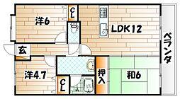 福岡県北九州市戸畑区銀座1丁目の賃貸マンションの間取り