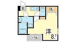 神戸市西神・山手線 妙法寺駅 徒歩6分の賃貸マンション 3階1Kの間取り