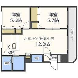 北海道札幌市北区屯田七条9丁目の賃貸マンションの間取り