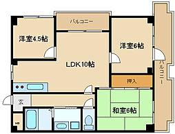 兵庫県伊丹市御願塚4丁目の賃貸マンションの間取り