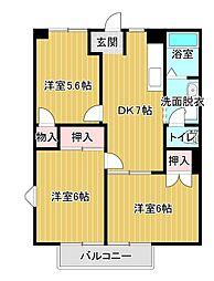 フローリッシュII[1階]の間取り